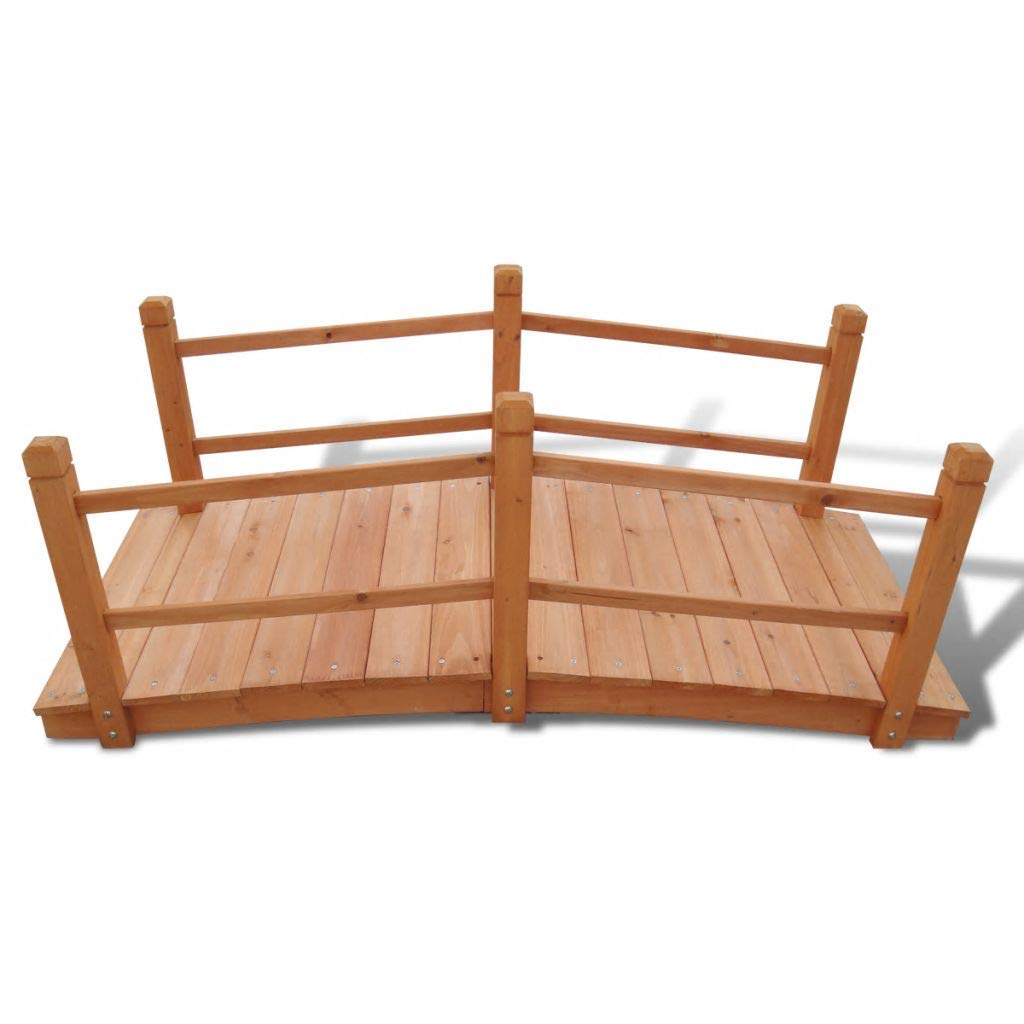 mewmewcat Garden Bridge Outdoor Wooden Decoration Weather-resistant for Ponds Streams and Borders 140 x 60 x 56 cm