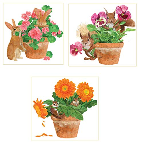 PPD Flower Pot Backyard Animal Friends Paper Luncheon Napkins, Bundle 3 - Napkin Flower Pot