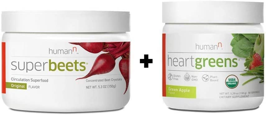 HumanN Superfood Heart Support Bundle | SuperBeets Circulation Superfood Concentrated Beet Powder Nitric Oxide Boosting with HeartGreens, SuperBeets Original Apple Flavor + HeartGreens Bundle Set