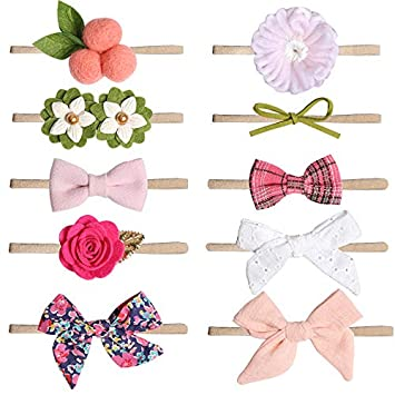 Baby Girl Bow-Stretch Headbands and Bows Flower Hairband Hair Accessories Headwear for Newborn Infant Toddler Gift (Style2)