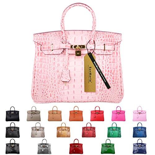 SanMario Designer Handbag Top Handle Padlock Women's Leather Bag Crocodile's Skeleton Patterns Embossed with Golden Hardware Pink (Crocodile Print Patent Bag)