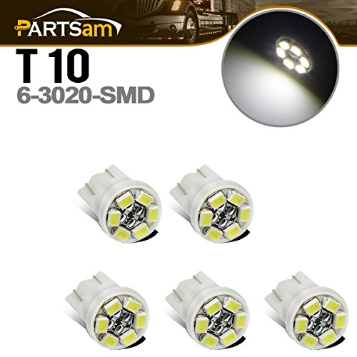 Partsam 5x White 6-3020-SMD W5W T10 LED Bulbs for Clearance Cab Marker Light Turn Tail Lamp Dome Light License Plate Light