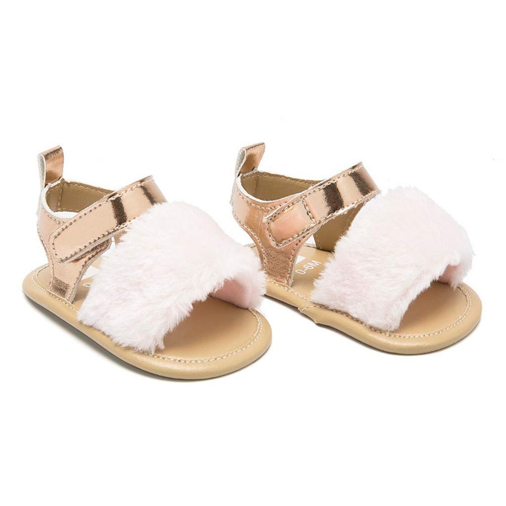 Sumen Baby Girls Sandals Faux Fur Slides Flats Toddler Infant Crib Summer Shoes