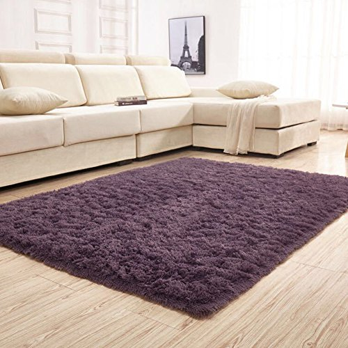 YJ.GWL Soft Shaggy Area Rugs for Bedroom Kids Room Children Playroom Non-slip Living Room Carpets Nursery Mat Home Décor Rug 4 Feet x 5.3 Feet (Gray Purple) from YJ.GWL