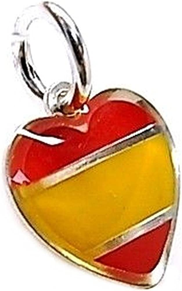 Colgante plata Ley 925m corazón esmaltado bandera España [AB5485]: Amazon.es: Joyería
