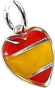 Colgante plata Ley 925m corazón esmaltado bandera España [AB5485 ...