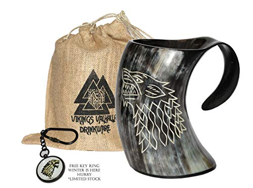 - Vikings Valhalla's Game of thrones stark house viking drinking horn mug wolf carved tankard for beer wine mead ale