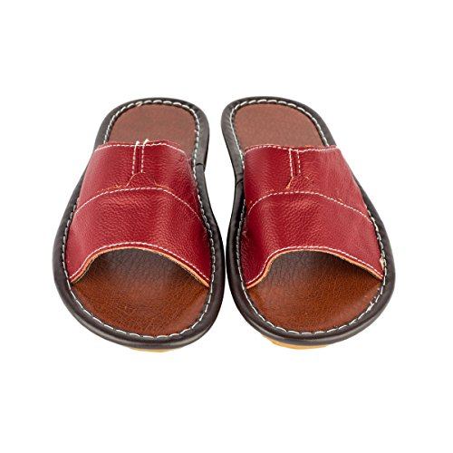 Haisum Tb006-w - Zapatillas de estar por casa de Piel Sintética para mujer rojo vino