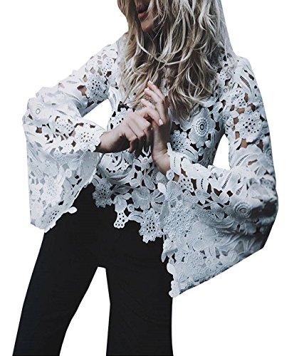 Primavera e Autunno Donna Tops in Pizzo Moda Rotondo Collo Maniche a Campana Cime Bluse Sexy Cavo Maglietta Tumblr Camicie Elegante Shirts Bianca