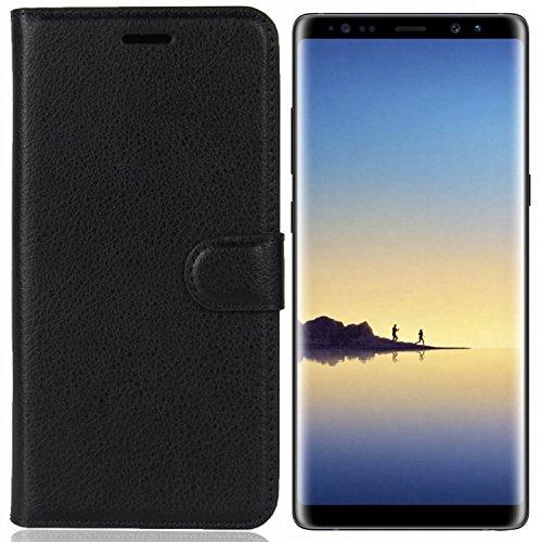 SAMAR - Custodia a Portafoglio in Pelle Nera Samsung Galaxy Note 8 Qualità Premium con Slot per Carte di Credito e Contante [Protezione Estrema] Sottile Cover con Garanzia Sostitutiva a Vita