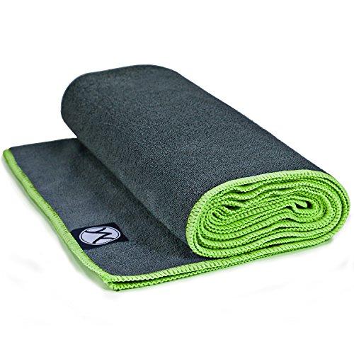Youphoria Yoga Towel – Microfiber Bikram Hot Yoga Mat Towels – Improve Your Grip – Non Slip, Skidless If Dampened – 100% Satisfaction Guarantee! (Gray Towel/Green Stitching, 24″ x 72″)