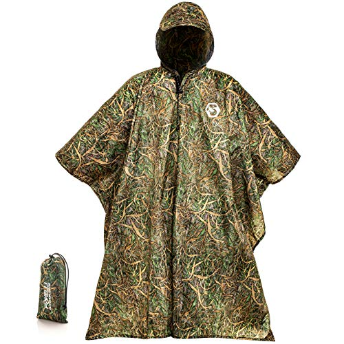 Foxelli Hooded Rain Poncho - Waterproof Emergency Military Raincoat for Adult Men & Women - Lightweight, Multi-Use, Reusable Rain Gear for Hiking, Camping, Fishing, ()