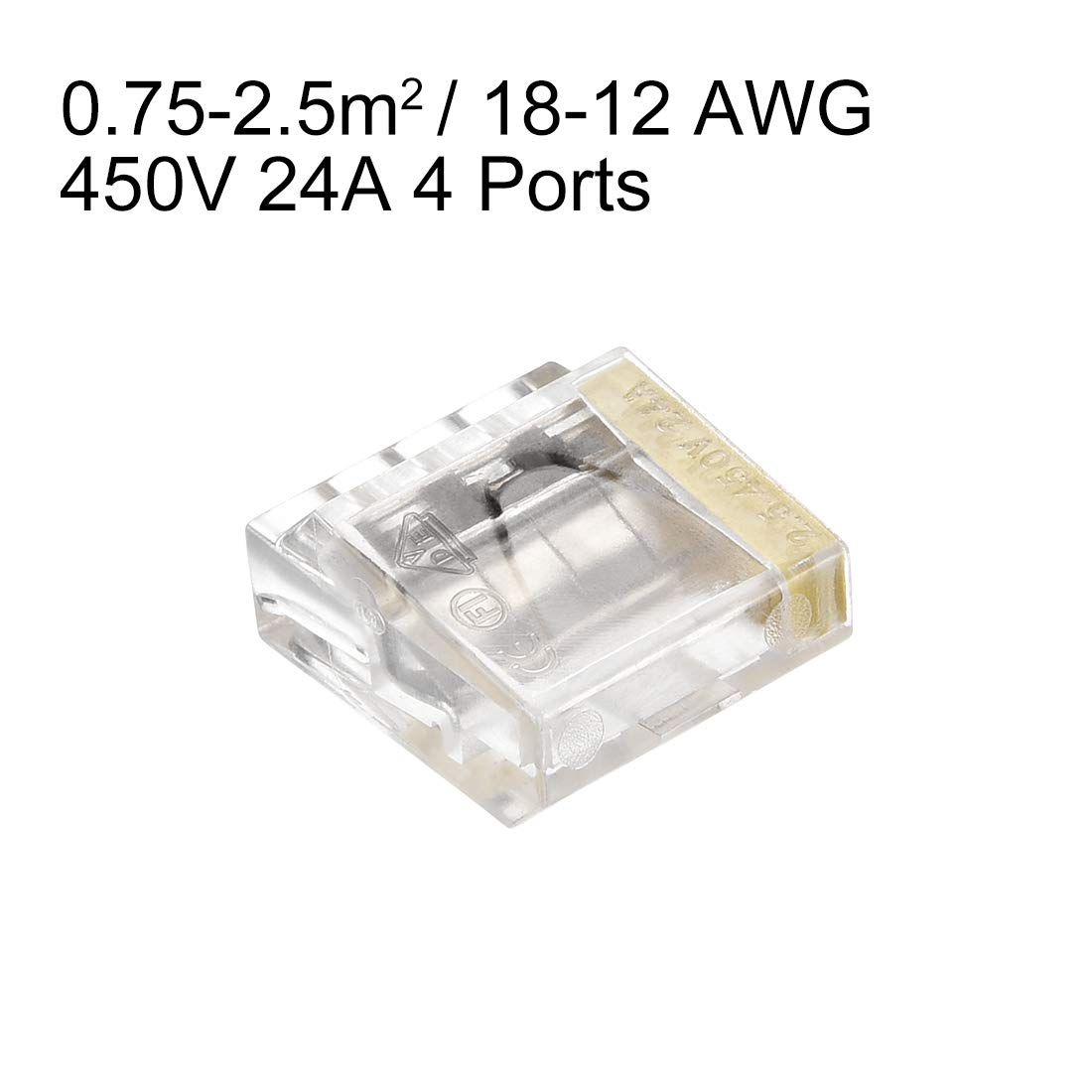 uxcell Push-In Electrical Wire Connectors 14-12 Awg 1-Port 250V Gray 50 Pack