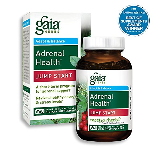 Gaia Herbs Adrenal Health Jump Start, Vegan Liquid Capsules, 60 Count - Adrenal Fatigue Supplement for Mood Support and Optimal Energy with Rhodiola, Ginseng, Cordyceps