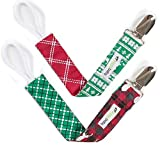 """Ziggy Baby Pacifier Clip Girl, Boy (2 Pack) """"Holiday Lodge Collection"""""""