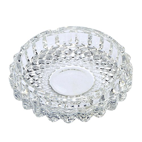 YXQ 5 inch Round Glass Ashtrays Clear Candy Dish Coin Dish Shallow Bowl Home Decorative