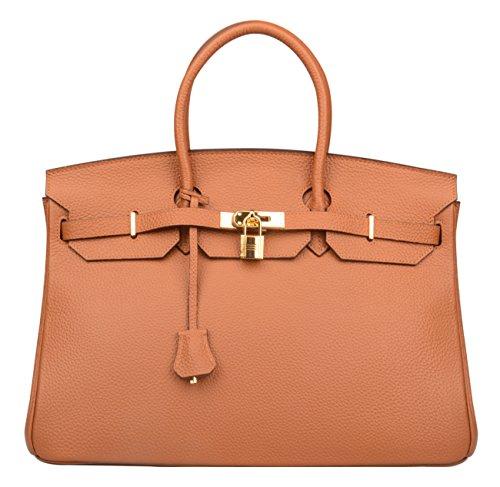 9e2ed76151 Galleon - Ainifeel Women s Padlock Genuine Leather 40CM Handbags (40cm(golden  Hardware)