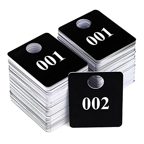 2 Sets - Plastic Numbered Tags, Coat Room Checks, Reusable Coatroom Hanger Claim Tickets, 2 Sets of 100 Consecutive Numbers (001-100)