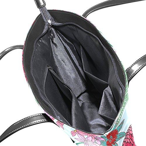 Coosun Vintage-Stil tropischen Kolibri und Blumen PU-Leder Umhängetasche Handtasche und Handtaschen Tasche für Frauen