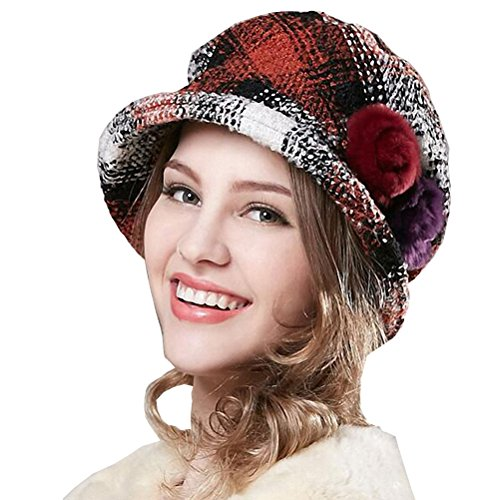 Maitose® Women's Wool Scottish Plaid Beret Black Red