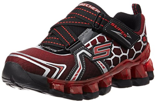 Skechers S Lights Flashpod Kids Boys Trainers red Strap flash Black/Red Z Strap