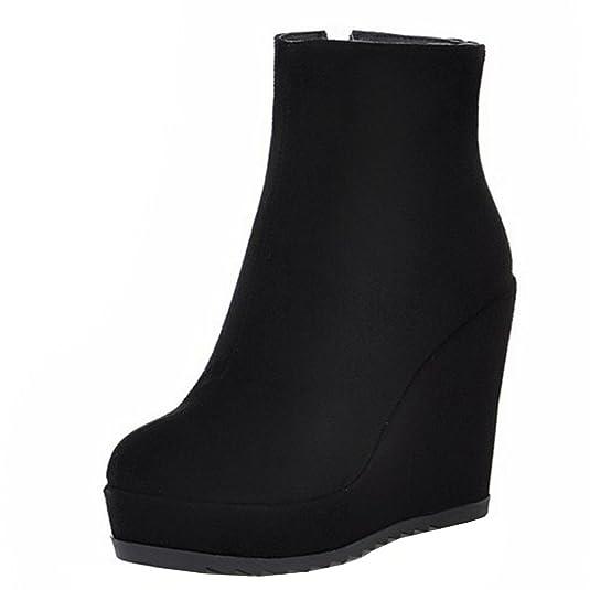 RAZAMAZA Damen Schuhe Keilabsatz Plateau Reißverschluss Keilstiefeletten Stiefeletten