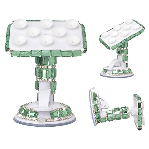 KAKA(TM) Universal Luxury Bling Handmade Green Crystal Diamond Rhinestones Universal Multi-function Portable Rotating Suction Cup Mini Desk Car Mount …