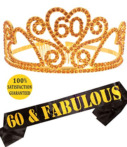 Gold 60th Birthday Gold Tiara and Sash, Happy 60th Birthday Party Supplies, 60 & Fabulous Gold Glitter Satin Sash and Crystal Tiara Birthday Crown for 60th Birthday Party Supplies and Decorations -