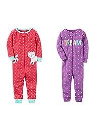 Carter's Baby Girls 2-Pack Cotton Footless Zipper Pajamas