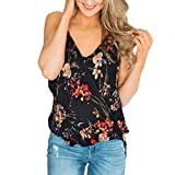 Women Tank Top, V Neck Floral Printed Sleeveless Strap Summer Casual Pleated Loose Camisole Vest (XXL, Black)