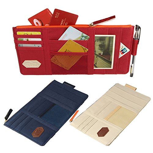 AUDEW Multi-function Car Visor Organizer Pouch, Card Storage Holder, Sun Shade Pouch Bag, CD Storage for Auto Vehicle Truck Beige