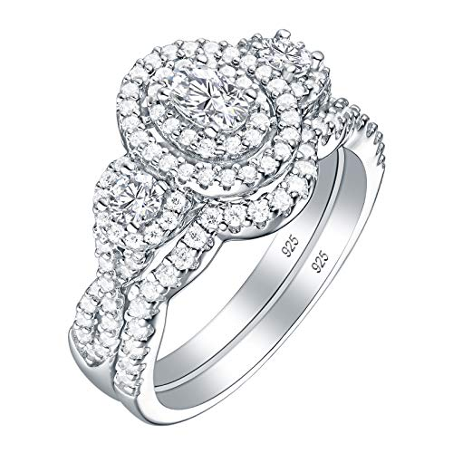 - SHELOVES Sterling Silver Cubic Zirconia Oval-Cut Halo Bridal Wedding Band Engagement Ring Set Size 7