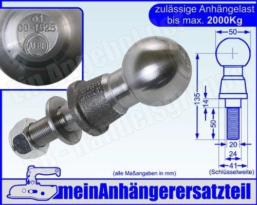 Kugelkopf Kugelkopfbolzen Zugkugel Kupplungskugel 2t 2000kg mit E-Pr/üfzeichen