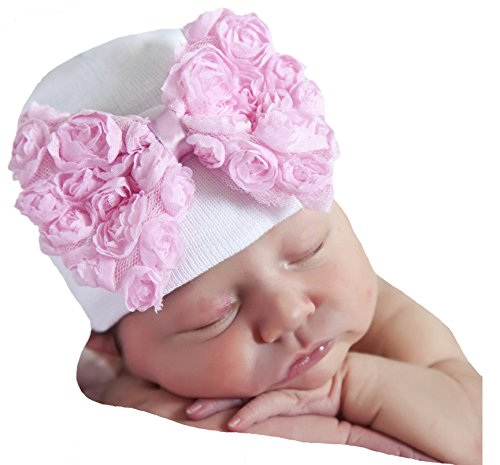 Rosette Bow - Melondipity's Big Pink Rosette Bow Nursery Beanie - Newborn Girls