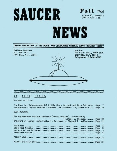 - Saucer News Vol. 13, Number 3, Fall 1966 (Whole Number 65)