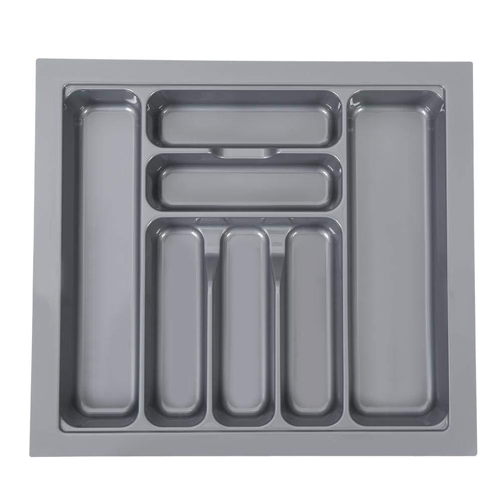 Grigio Vassoio Portaposate in Plastica,Universal 7 Scomparti Inserto Portaposate per Cassetto da Cucina per Organizzare Coltelli e Forchette 600mm