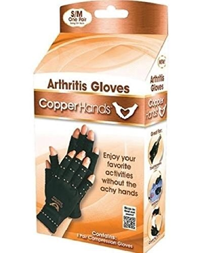 1 x Pair Copper Hands Arthritis Gloves As Seen on Tv Therapeutic Compression WITH BOX
