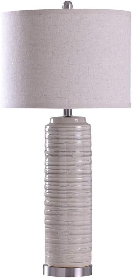 StyleCraft L316848 Anastasia Traditional 3 Way Lamp with White Textured Drum Lampshade for Table or Desk Bedroom Room Light Decor, Ivory (Ceramic)