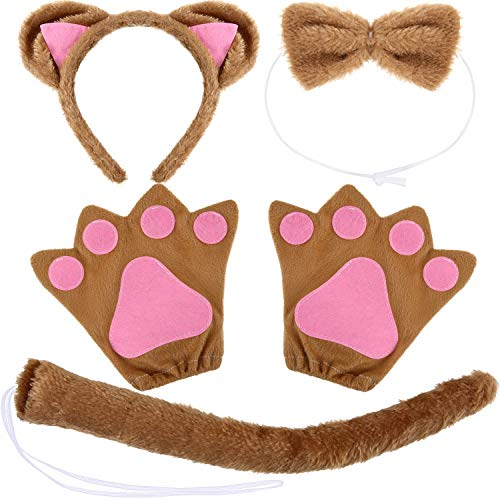 (WILLBOND 10 Pieces Cat Costume Set, Include Cat Ears Headband, Cat Bow Tie, Cat Tail and Cat Paw Gloves for Halloween or Costume Party Decoration (Size B, Brown))