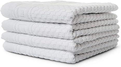 Handtücher Set 100/% Baumwolle saugstark Frottee-Tuch Muster grau//weiß