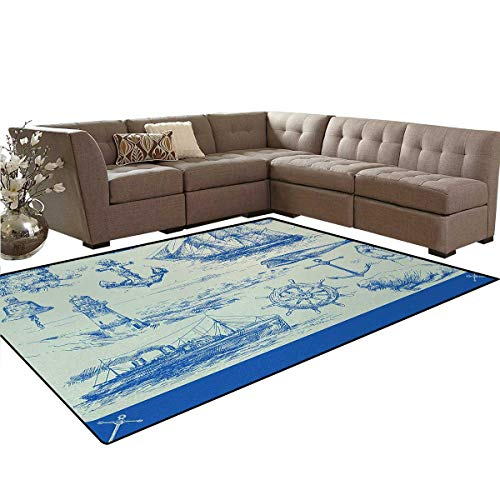 Nautical Anchor,Rug,Whale Sail Boat Steering Wheel and Old Lighthouse Fishing Theme Sketchy,Home Decor Floor Carpet,Blue Eggshell,6'x7'