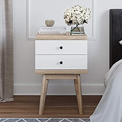 Living Skog Mid-Century Side Table 2-Drawer White Beige- Scandinavian Nightstand with 2 Drawers - Multipurpose Small Desk & Makeup Table with Easy Glide Drawers - ELEGANT & PRACTICAL: If you too are on the search for the perfect addition to your modern-looking home, then the answer is here: the amazing midcentury side table is a multifunctional piece that will look stunning in your house. TOP DESIGN: Our Scandinavian nightstand has a midcentury-inspired style that matches all modern homes. The sides have no screws or holes, creating fine lines that look aesthetically pleasing from any angle, allowing for more flexibility. PREMIUM CRAFTSMANSHIP: The small desk is made with Italian machinery that uses a high-end finishing technique shown in the furniture's details. The Scandinavian design includes two easy sliding drawers that ensure generous storing space. - nightstands, bedroom-furniture, bedroom - 51rc%2BbjU19L. SS400  -
