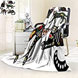 YOYI-HOME Digital Printing Duplex Printed Blanket Calavera Sugar Skull Black Cats in Mexican Style for Holiday The Dayof The Dead Dia de Muertos Summer Quilt Comforter/79 W by 59'' H
