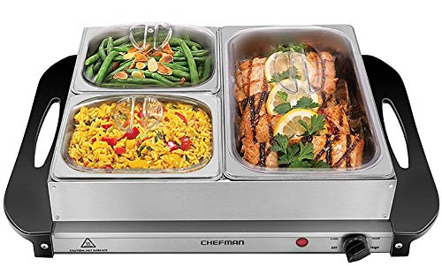 Chefman Electric Buffet Server + Warming Tray w/Adjustable Temperature & 3 Chafing Dishes, Hot Plate Perfect for Holidays, Catering, Parties, Events & Home Dinners, 14'' x 14'' Surface, Stainless Steel