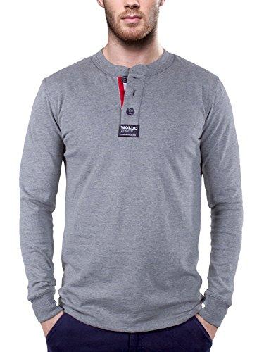 WOLDO Athletic Herren Longsleeve Langarmshirt Rugby Polo Shirt Rundhals Slim Fit grau (XL, Hasek / grau)