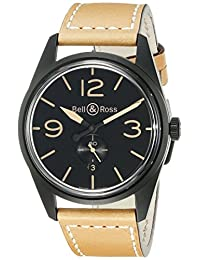 Bell & Ross Men's BR123-HERITAGE Vintage Dial and Strap Black Dial Watch
