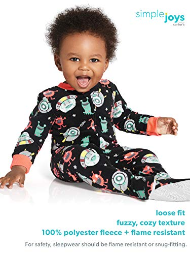 Simple Joys By Carter's Boys' 3-pack Loose Fit Flame Resistant Fleece Footed Pajamas, Arctic Animalsstripe Mousebuffalo Check, 24 Months