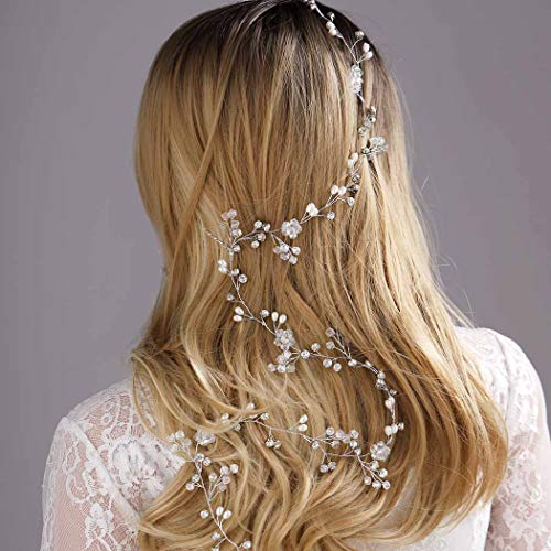 Yean Wedding Hair Vine Long Bridal Headband Hair Accessories for Bride and Bridesmaid (100cm / 39.3inches) (Gold)