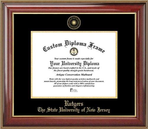 Frame Rutgers Diploma - Rutgers University Scarlet Knights - Embossed Seal - Mahogany Gold Trim - Diploma Frame