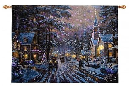 Thomas Kincade Fiber Optic Wall Hanging Memories Of Christmas